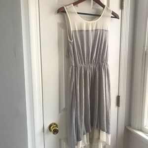 Gray and off white stripped dress